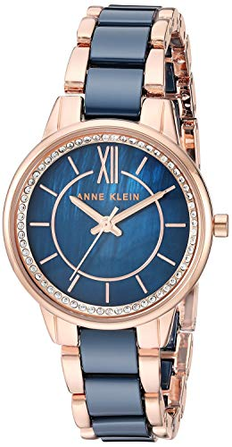Anne Klein Rose Gold-Tone and Navy Blue Ceramic Bracelet Watch