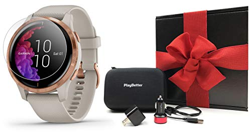 Garmin Venu Rose Gold Fitness GPS Smartwatch Gift Box Bundle