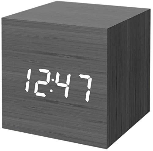 Bedroom Wood LED Cube Desk Alarm Clock