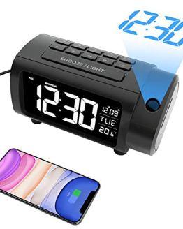 LIORQUE Projection Alarm Clock Radio Digital Clock