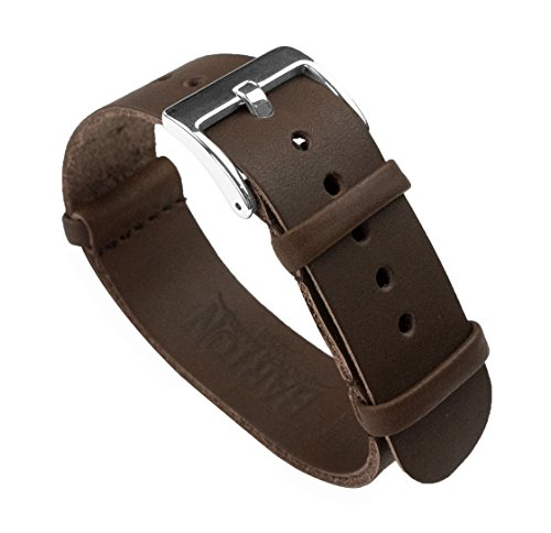 Leather NATO Style Watch Straps 22mm Saddle Brown