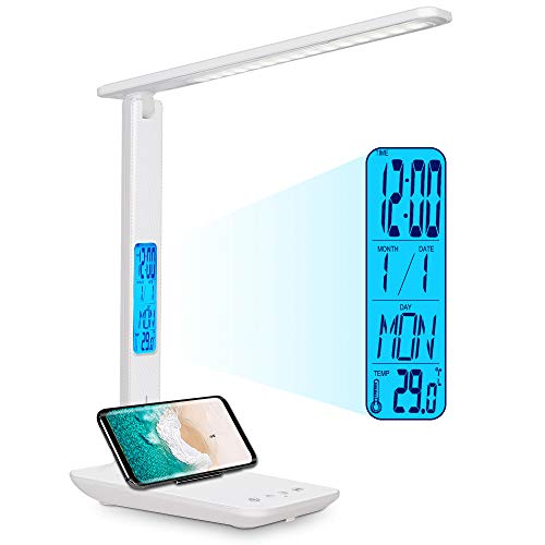 LED Desk Lamp Office with Clock