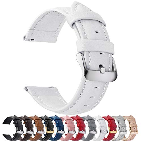 Quick Release Leather Watch Band 22mm White