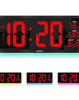 Large Digital Wall Clock with 7 Color Night Light