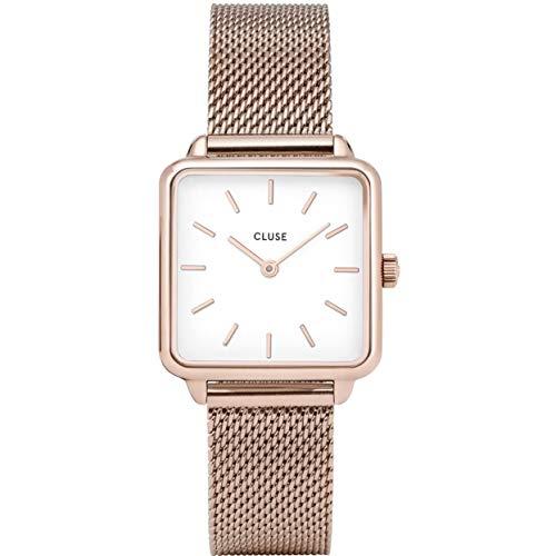 CLUSE LA TÉTRAGONE Rose Gold Mesh White Women's Watch