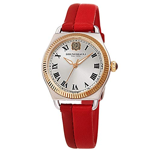 Bruno Magli Two-Tone Red Italian Leather Dial Strap Watch