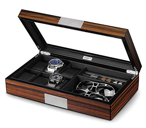 Lifomenz Co Watch Jewelry Box for Men 6 Slot Watch Box