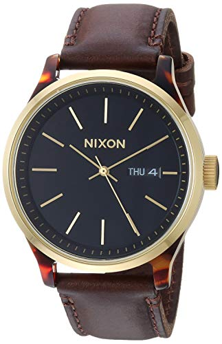 NIXON Sentry Luxe A1263 - Tortoise/Gold/Brown - 100m Water Resistant