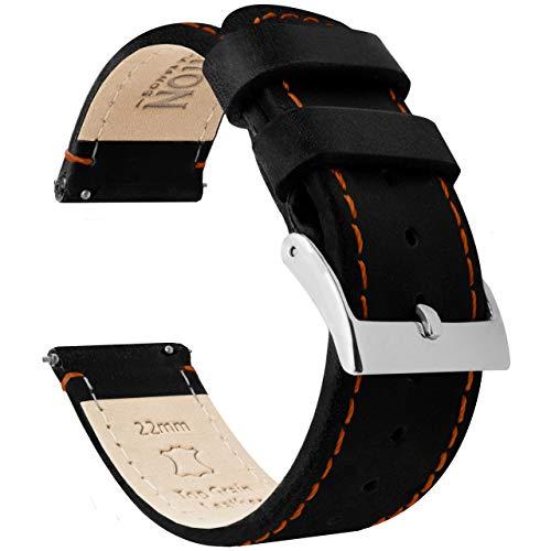 16mm Black Orange Leather Watch Band Strap