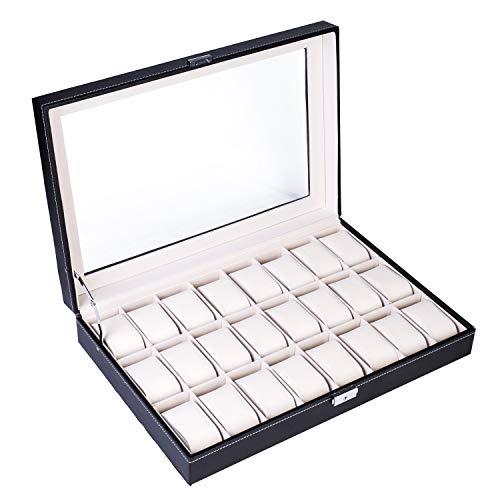 24 Slot Elegant Portable Black Watch Box Case Organizer