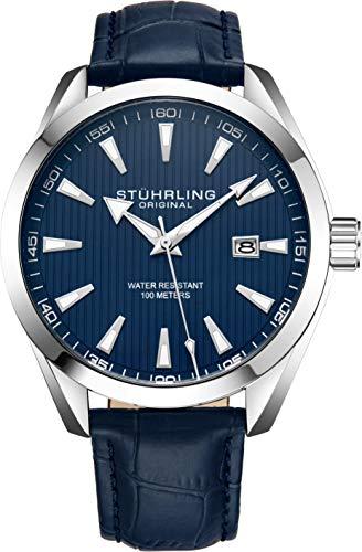 Stuhrling Original Blue Watch Calfskin Leather