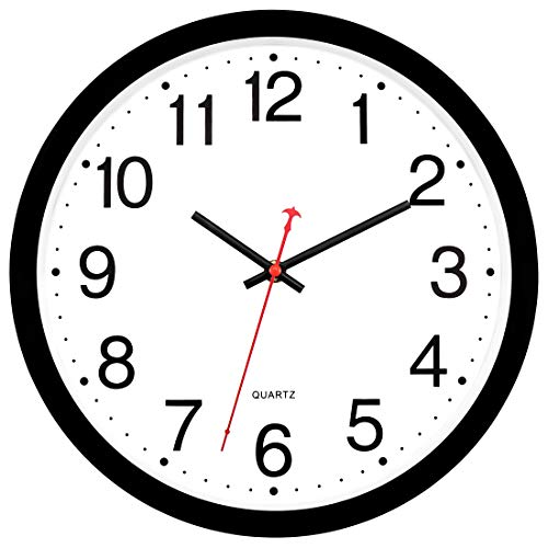 Round Easy to Read Black Wall Clock Non-Ticking