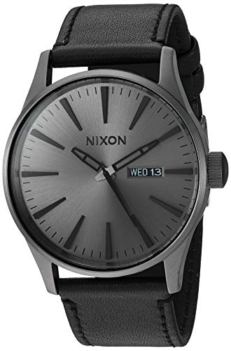 Leather Gunmetal and Black Men's Watch