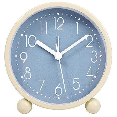 4 Inch Simple Stylish Small Analog Alarm Clock with Night Light