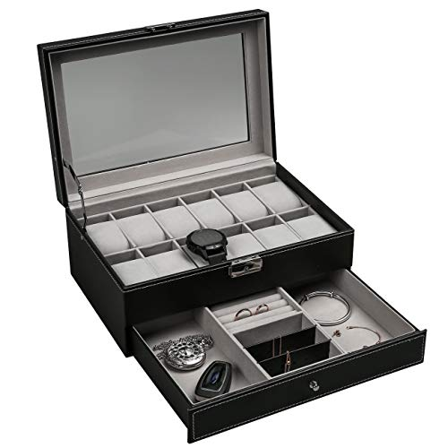 Leather Lockable Watch Storage Box with Glass Lid