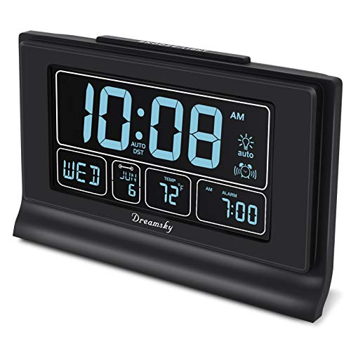 DreamSky Auto Set Digital Alarm Clock with USB Charging Port
