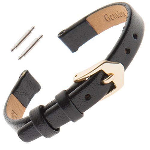 Gilden Flat Polished Calfskin Leather Ladies Watch Band