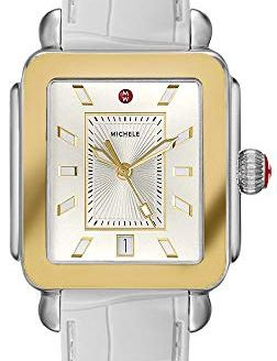 Michele Women's Deco Sport Watch White Embossed Silicone