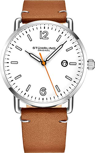Stuhrling Vintage White Dial Watch Brown Leather