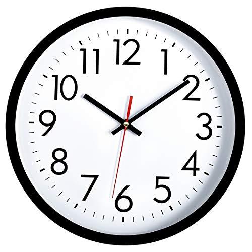 Lumuasky Black Wall Clock, Silent Non-Ticking 12 Inch