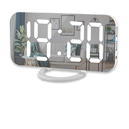 """Digital Alarm Clock,6"""" Large LED Display with Dual USB Charger Ports"""