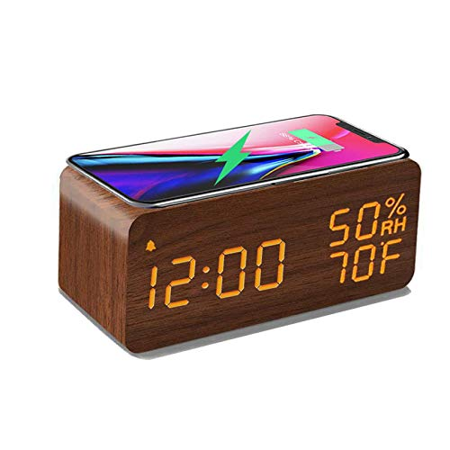 Wooden Digital Alarm Clock with Wireless Charging