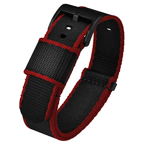 BARTON Jetson NATO Style Watch Strap, 18mm Black / Crimson