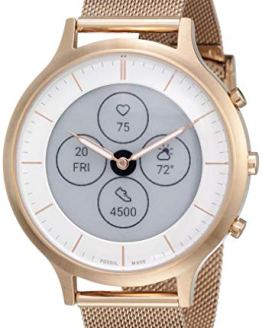 Rose Gold Mesh Fossil Hybrid HR Smart Watch