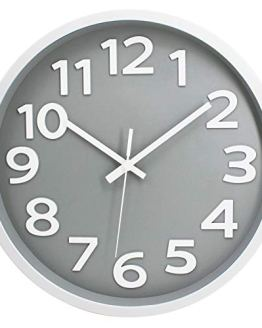 Modern Simple Wall Clock Non-Ticking Big Numbers
