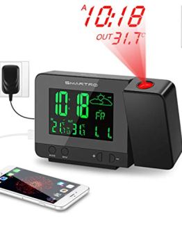 SMARTRO Digital Projection Alarm Clock with Weather Station