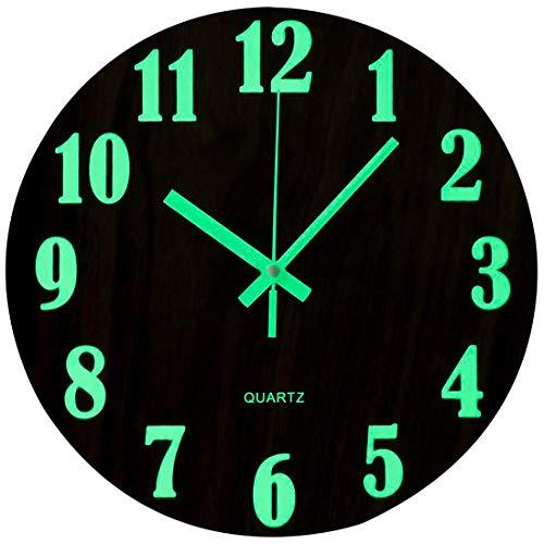 Wall Clock Silent Wooden Design Night Lights