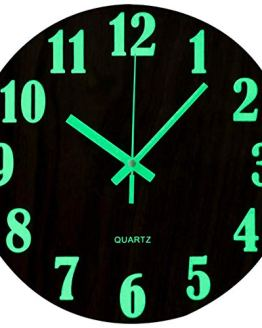 Wall Clock Silent Wooden Design Night Lights