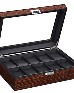 BEWISHOME Watch Box -10 Slot Luxury Watch Case