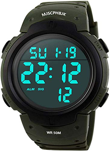 Digital Sports Watch, Waterproof LED Screen Large Face Military