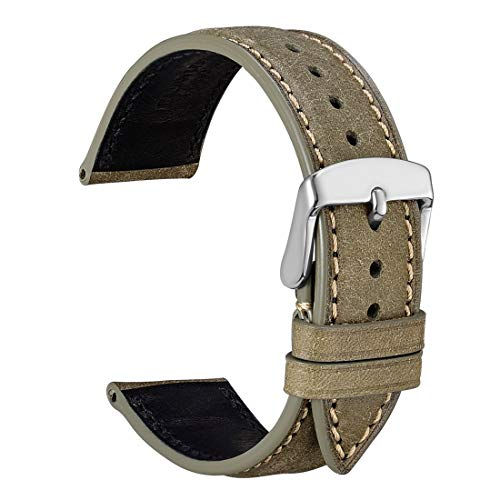 Leather Watch Strap with Silver Stainless Steel Buckle 20mm