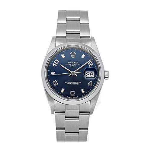Blue Dial Mens Rolex Oyster Automatic Perpetual Mechanical