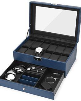 Watch Box, 12 Slots PU Leather Case Organizer with Jewelry Drawer