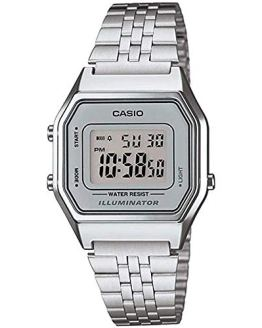 Casio Ladies Silver Tone Digital Retro Watch
