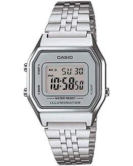 Casio Ladies Silver Tone Digital Retro Watch