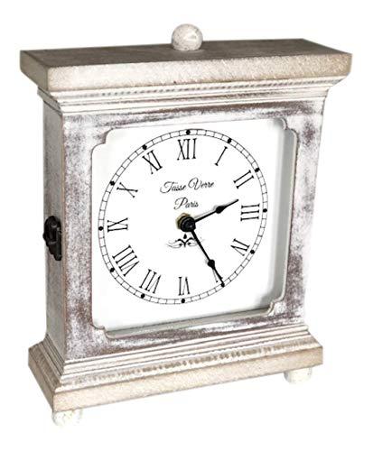 Tasse Verre Rustic Shelf Clock White Washed Wood Silent