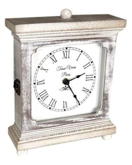Tasse Verre Rustic Shelf Clock White Washed Wood Silent