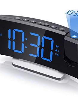 Projection Alarm Clock Radio Digital Clock with USB Charger