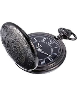 Black Dial and Chain Hicarer Quartz Pocket Watch