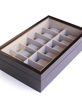 Solid Espresso 12 Slot Wood Watch Box Organizer
