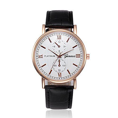 Luxury Men's Leather Wrist Watch - Glass Quartz Analog