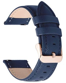 Quick Release Leather Watch Band 20mm Dark Blue
