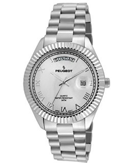 Peugeot Stainless Steel Big Face Luxury Watch with Day Date Windows