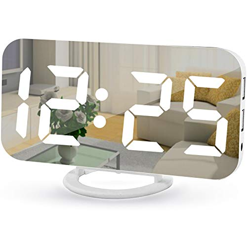 LED Mirror Electronic Clock Snooze Mode