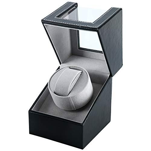 Single Watch Winder in Black Leather