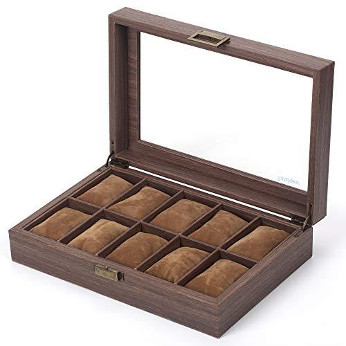 Readaeer 10 Slot PU Leather Watch Box Organizer